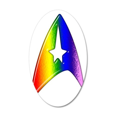 Rainbow Trek Badge Art 35x21 Oval Wall Decal