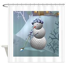 Golf Ball Snowman Shower Curtain