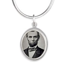 """Abe Lincoln """"That is cool."""" Silver Oval Necklace"""