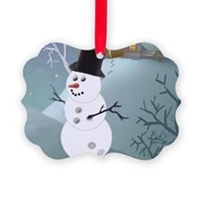 Bowling Christmas Snowman Ornament