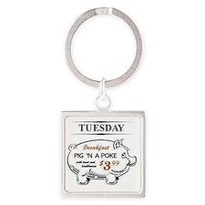 Pig `n a poke Square Keychain