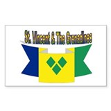 St Vincent flag ribbon Rectangle Decal