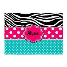 Pink Blue Zebra Personalized 5'X7'area Rug