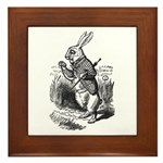 White Rabbit Framed Tile