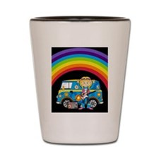 Hippie Girl and Camper Van Shot Glass