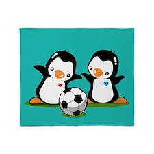 Soccer Penguins Throw Blanket