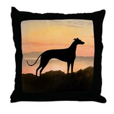 Greyhound Sunset Throw Pillow