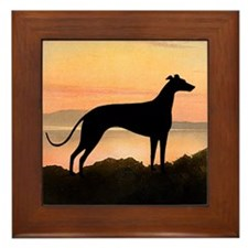 Greyhound Sunset Framed Tile