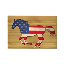 American Flag Horse Rectangle Magnet