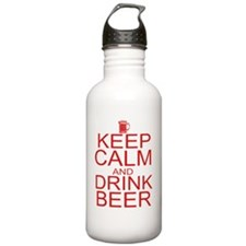 keepCALM-beer-red Water Bottle