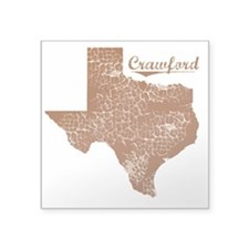 "Crawford, Texas (Search Any Square Sticker 3"" x 3"""