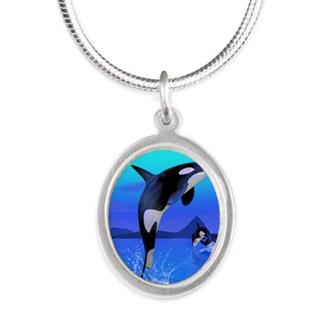 orca_earring_oval_charm Silver Oval Necklace