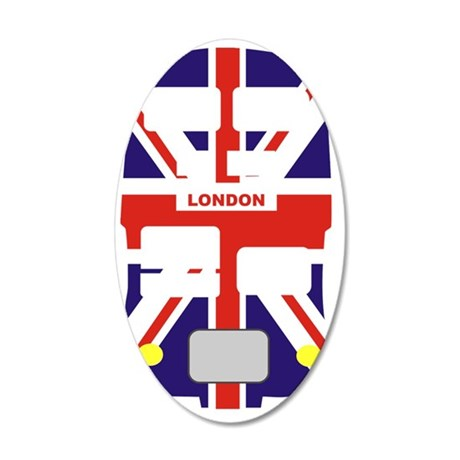 Union Jack London Bus 35x21 Oval Wall Decal