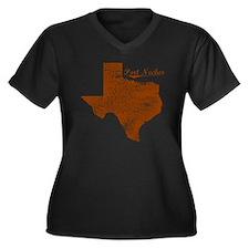 Port Neches, Women's Plus Size Dark V-Neck T-Shirt