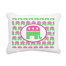 Pink and Green Preppy Re Rectangular Canvas Pillow