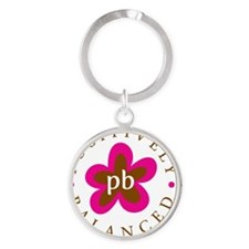 New PB logo pink and brown Round Keychain