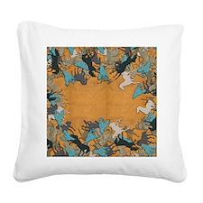 Horses Square Canvas Pillow