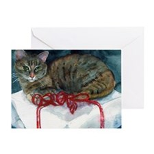 Christmas Gift Cat Greeting Card
