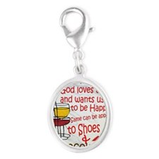 wine shoes and chocolate Silver Oval Charm