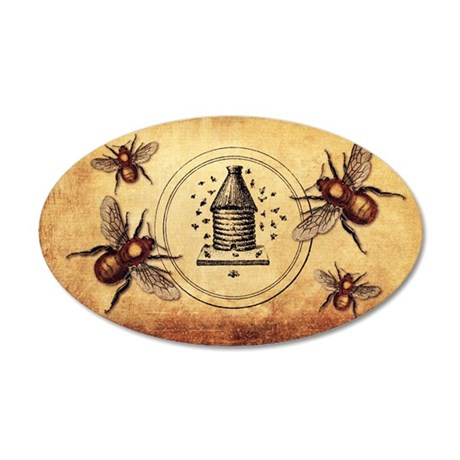 Vintage Bees 35x21 Oval Wall Decal