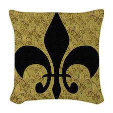 Black and gold Fleur de lace Woven Throw Pillow