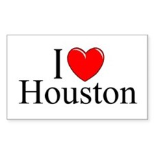 """I Love Houston"" Rectangle Decal"