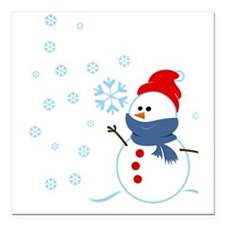 "Cute Snowman Square Car Magnet 3"" x 3"""