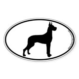 Great Dane SILHOUETTE Oval Decal