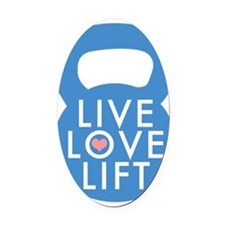 Blue Live Love Lift Oval Car Magnet