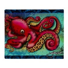 Octopus framed print Throw Blanket