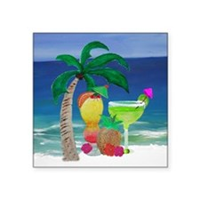 """Tropical Drinks on the beac Square Sticker 3"""" x 3"""""""