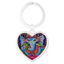 Ganesha Art by Julie Oakes Heart Keychain
