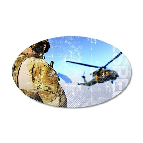 Military Grunge Poster: Resp 35x21 Oval Wall Decal