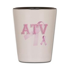 ATV initials, Pink Ribbon, Shot Glass