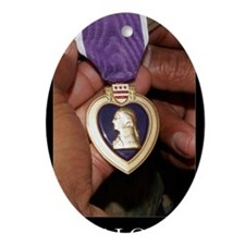 Military Poster: Holding purple hear Oval Ornament