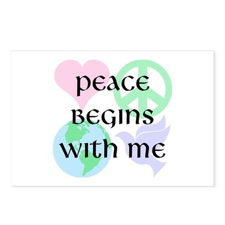 Peace Begins With Me Postcards ~ Package of 8