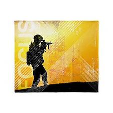US Army Grunge Poster: Focus. U.S. A Throw Blanket
