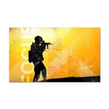 US Army Grunge Poster: Focus. Rectangle Car Magnet