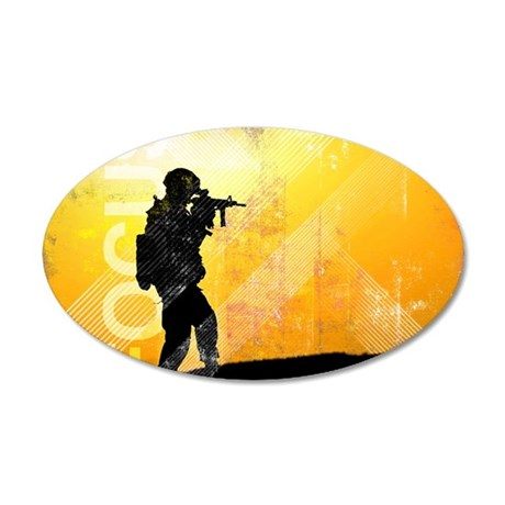 US Army Grunge Poster: Focus 35x21 Oval Wall Decal