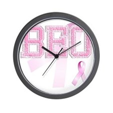 BEO initials, Pink Ribbon, Wall Clock