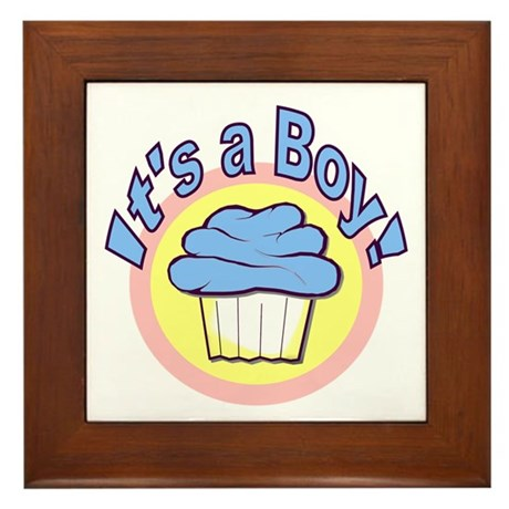 It's a Boy Cupcake Framed Tile