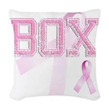 BOX initials, Pink Ribbon, Woven Throw Pillow