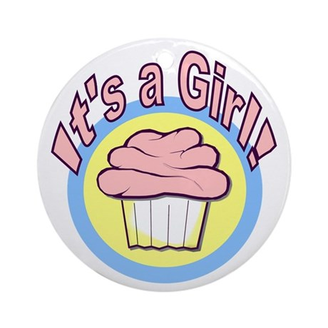 It's a Girl Cupcake Ornament (Round)