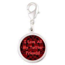 I Love All My Twitter Friends! Silver Round Charm