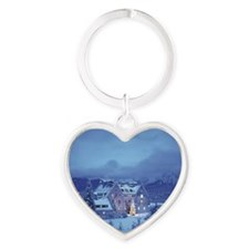 Schloss Kranzbach with Christmas tr Heart Keychain
