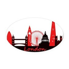 London landmarks tee 3cp Oval Car Magnet