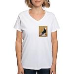 Black Bald West Women's V-Neck T-Shirt