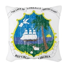 Liberia Coat of Arms Woven Throw Pillow