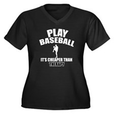 Baseball cheaper than therapy Women's Plus Size V-