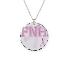 FNH initials, Pink Ribbon, Necklace